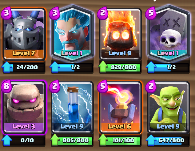Clash Royale- Graveyard Golem Deck Push to Legendary Arena