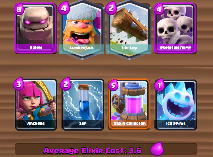 Clash Royale- Golem Log Deck Push to Legendary Arena
