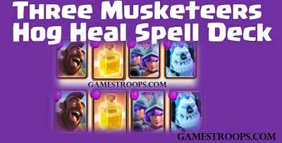 Clash Royale F2p Three Musketeers Hog Heal Spell Deck For